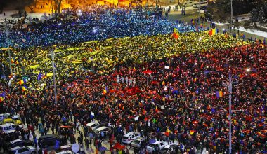 Romanian Human Flag During Protests